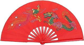 Demeras Wachlarz Tai Chi czerwony chiński bambusowy wachlarz Kung Fu Walka Tai Chi Fan z feniksem i smokiem do treningu ta...