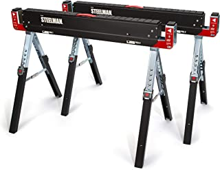 Steelman Adjustable Height Work Table Folding Sawhorses, Set of Two, Durable Steel Construction, Folding Legs, 2x4 Table S...