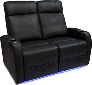 Valencia Syracuse Premium Top Grain 9000 Leather Power Recliner LED Lighting Home Theater Seating (Row of 2 Loveseat)