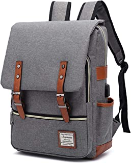 SUPEASE Laptop Backpack for Women Men, Vintage Slim School Backpack with USB Charging Port for 15.6 Inches Macbook, Grey