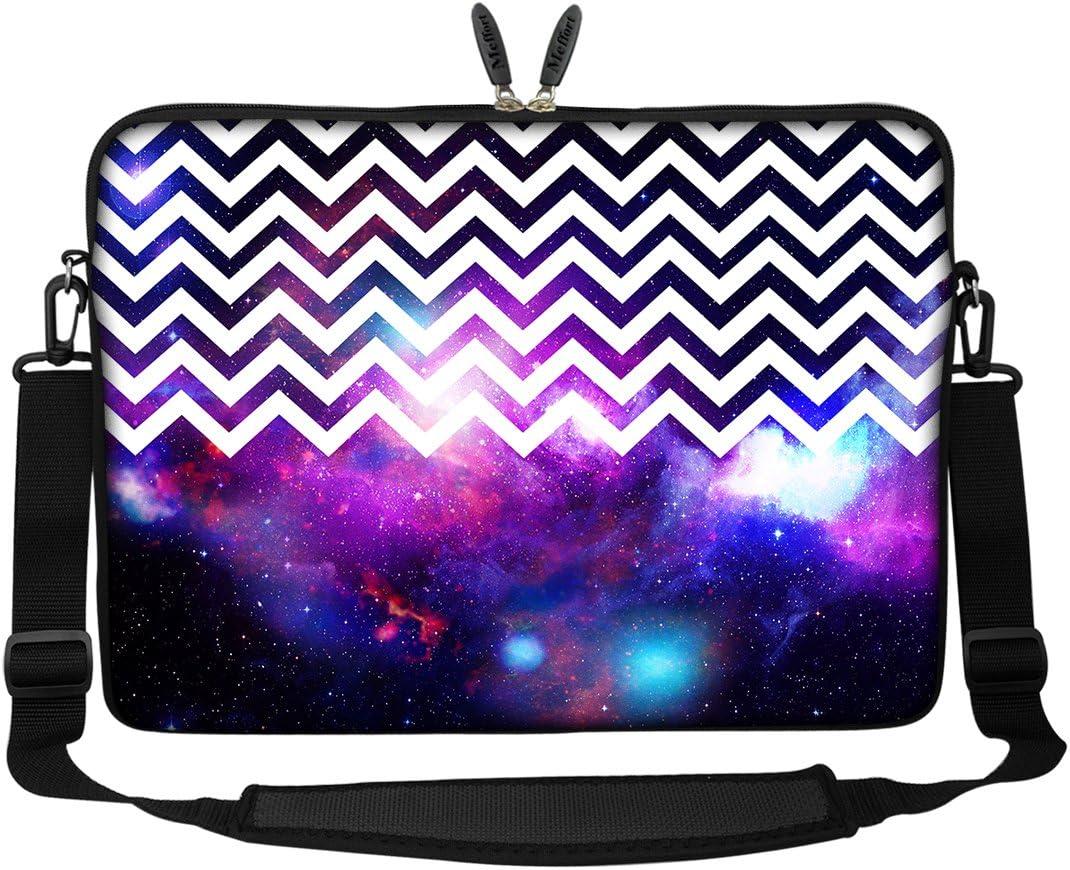 Meffort Inc 15 15.6 inch Neoprene Laptop Sleeve Bag Carrying Case with Hidden Handle and Adjustable Shoulder Strap - Chevron Pattern Galaxy