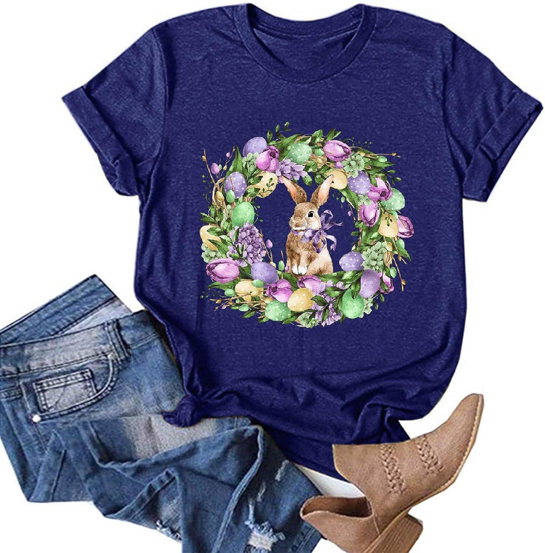 Rapid rise BEIBEIA Women's Easter Mom Fashion Short Shirt T shopping B Casual Sleeve