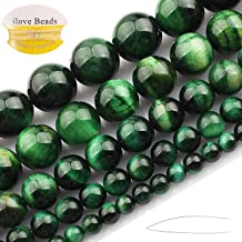 ILVBD Natural Round Blue Green Rose Gold Red Multi-Color Tiger Eye Gemstone Beads for Jewelry Making (Green, 8MM)