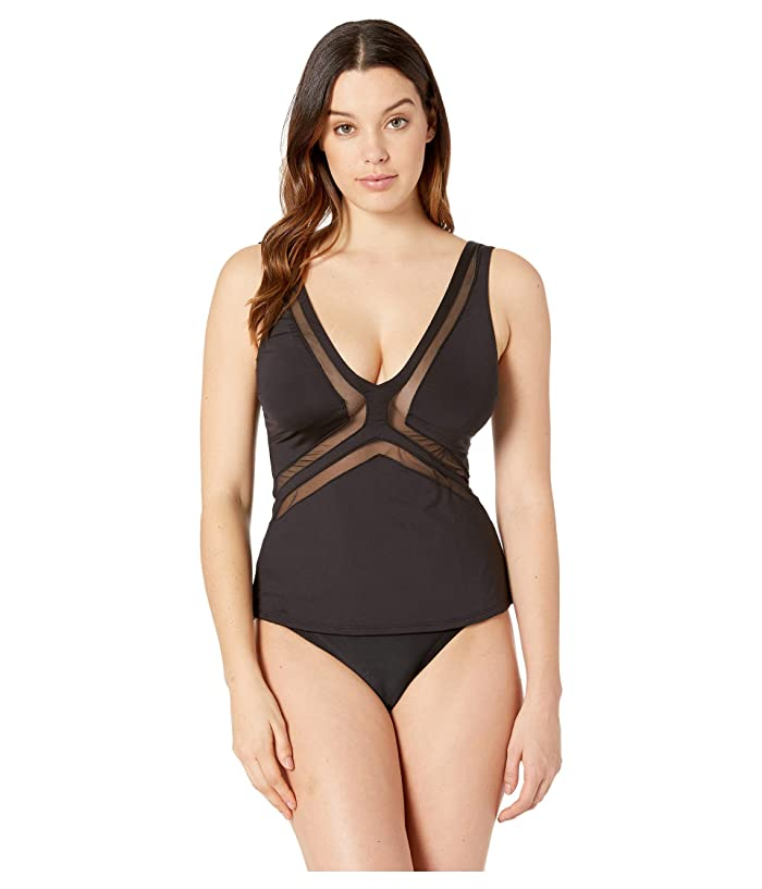 Kenneth Cole Yes to Mesh Halter Tankini (Black) Women