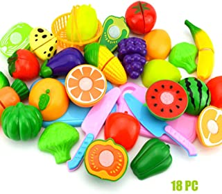 Junshion Kids Pretend Role Play Kitchen Fruit Vegetable Food Toy Cutting Set Gift (B-18pcs)