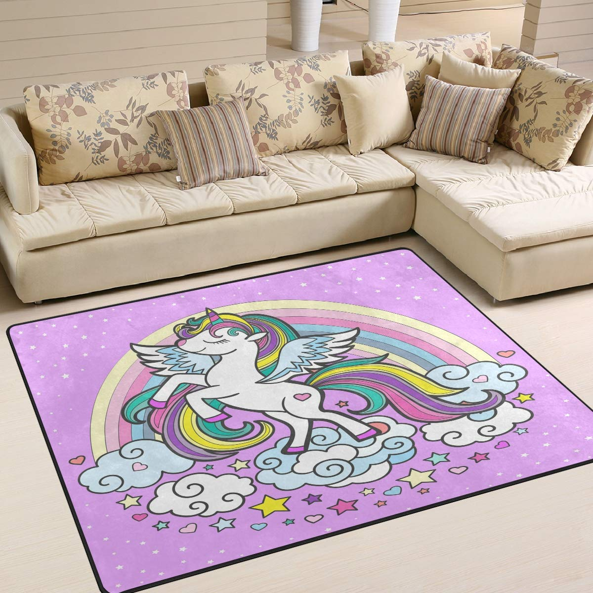 ALAZA Unicorn 宅送 Pony 期間限定 with Feather Indoo Hooves Wings Cloud Rainbow