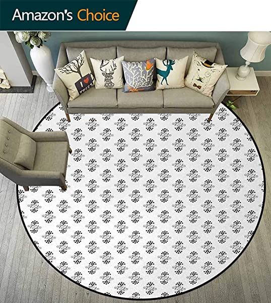 DESPKON HOME Black And White Super Soft Circle Rugs For Girls Heart Shaped Petals And Leaves Valentines Day Design With Spiral Lines Baby Room Decor Round Carpets Diameter 24 Inch Black White