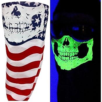 MAGA USA FLAG BANDANA MASK VELCRO®Adjustable TRUMP SKULL HALF FACE COVER BIKERS