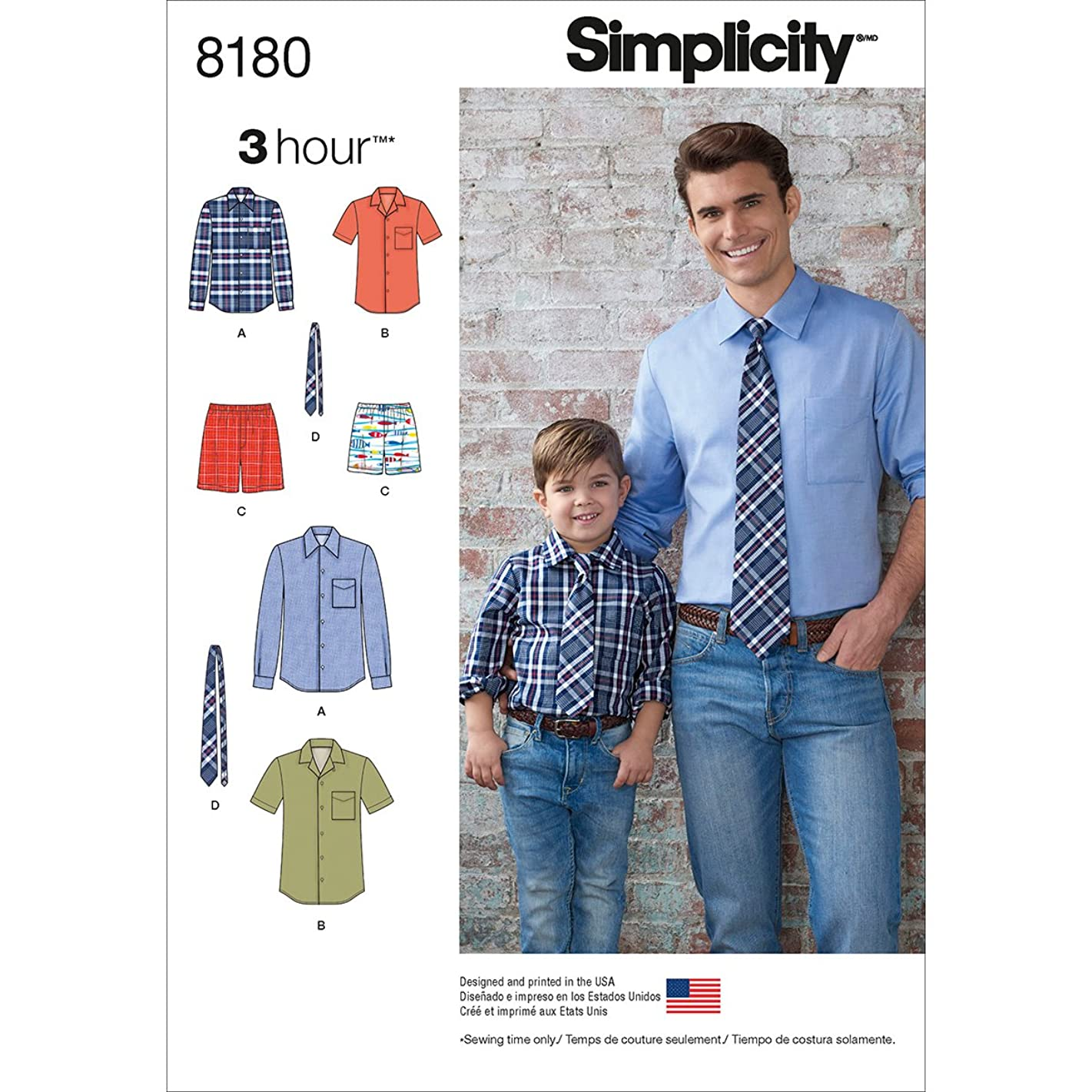 Simplicity 8180 Men and Boy's Shirt, Boxer Short, and Tie Sewing Pattern by 3 Hour in Sizes A (S-L / S-XL)
