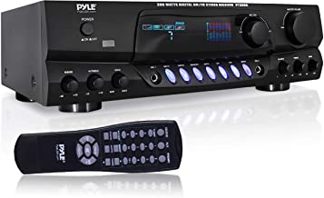 Pyle 200W Home Audio Power Amplifier - Stereo Receiver w/ AM FM Tuner, 2 Microphone Input w/ Echo for Karaoke, Great Addit...