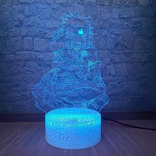 Luz de Nocturna 1pcs Anime Jiraya 3d Luz De Noche Para Niños Novedad Naruto Light Lámpara De Mesa Decorativa Para El Hogar