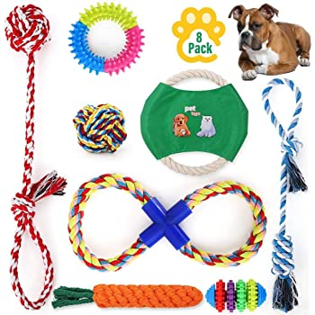 JmrLuck Dog Rope Toy for Aggressive Chewers, Indestructible Dog Toys, Puppy Toys for Teething Small Dogs and Medium Dogs, Dog Chew Toys for 100% Washable Cotton Puppy Chew Toys Set of 8