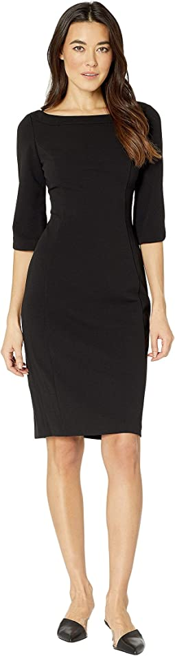 Bateau Neck 3/4 Sleeve Sheath Dress