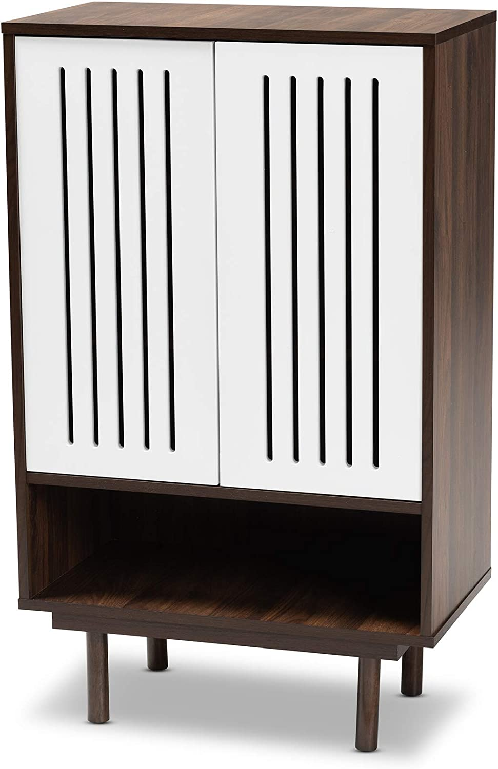 Baxton Studio Shoe Cabinets Walnut White Max 74% Clearance SALE! Limited time! OFF