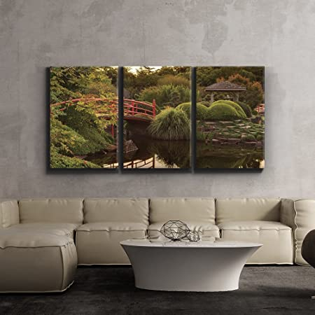 Amazon Com Wall26 3 Piece Canvas Print Contemporary Art Modern Wall Art Japanese Footbridge And Garden Giclee Artwork Gallery Wrapped Wood Stretcher Bars Ready To Hang 16 X24 X3 Panels