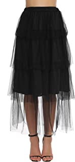 Women Summer Chiffon High Waist Pleated Big Hem Full/Ankle Length Beach Midi Skirt