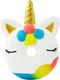 AOLIGE Kawaii Unicorn Toys Squishy Party Favors Stress Reliever Toy Colorful Animal Donut Squishy for Kids
