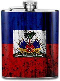 Haitian Flag, Grunge Fashion Portable Stainless Steel Hip Flask Whiskey Bottle for Men and Women 7 Oz