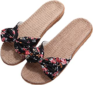 Womens Cozy Indoor Cotton Flax Home Slippers Non-Slip Casual Sandals