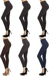 MOPAS 6-pack: Seamless Fleece Lined Leggings - Stretchy Multi Colors