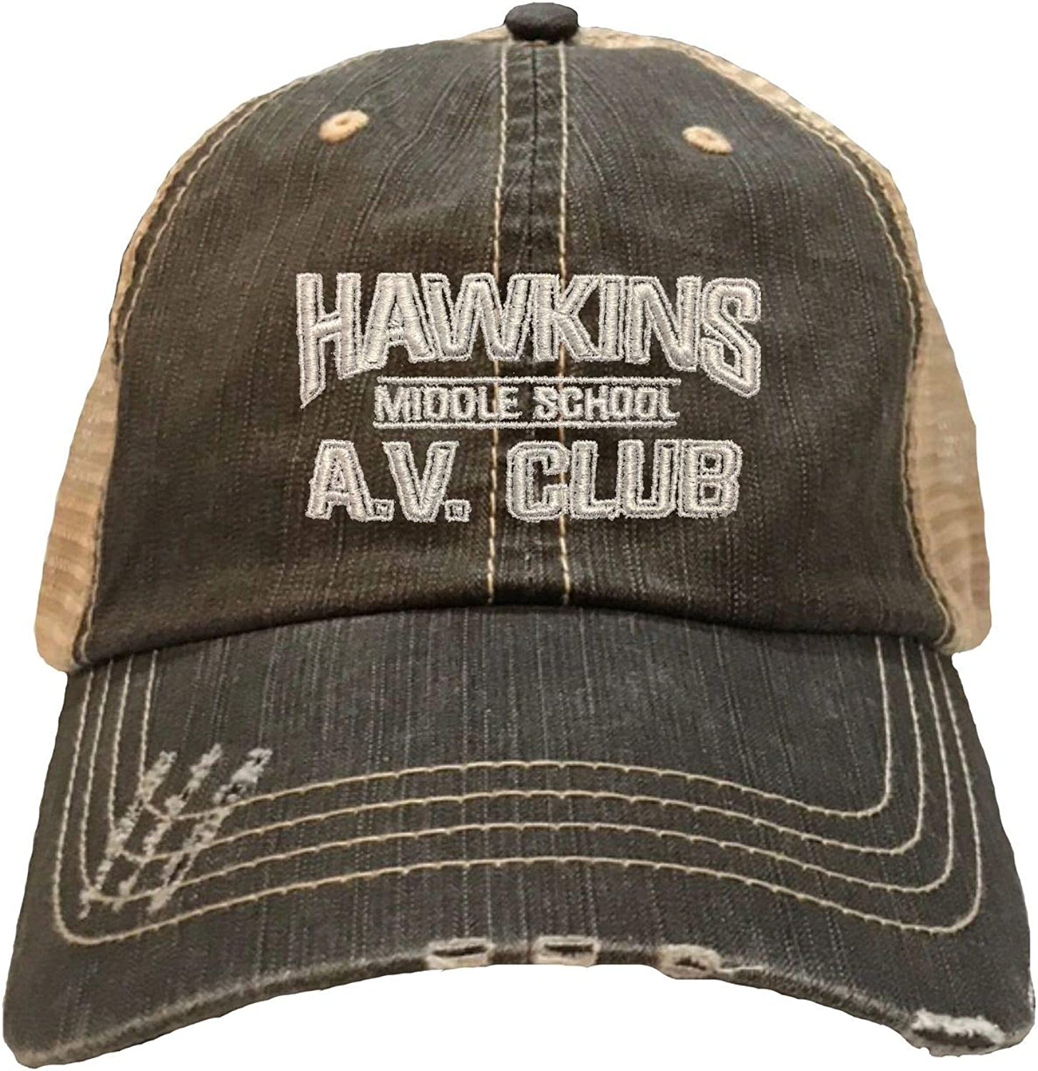 Go All Out Adult Hawkins AV Club Embroidered Distressed Trucker Cap