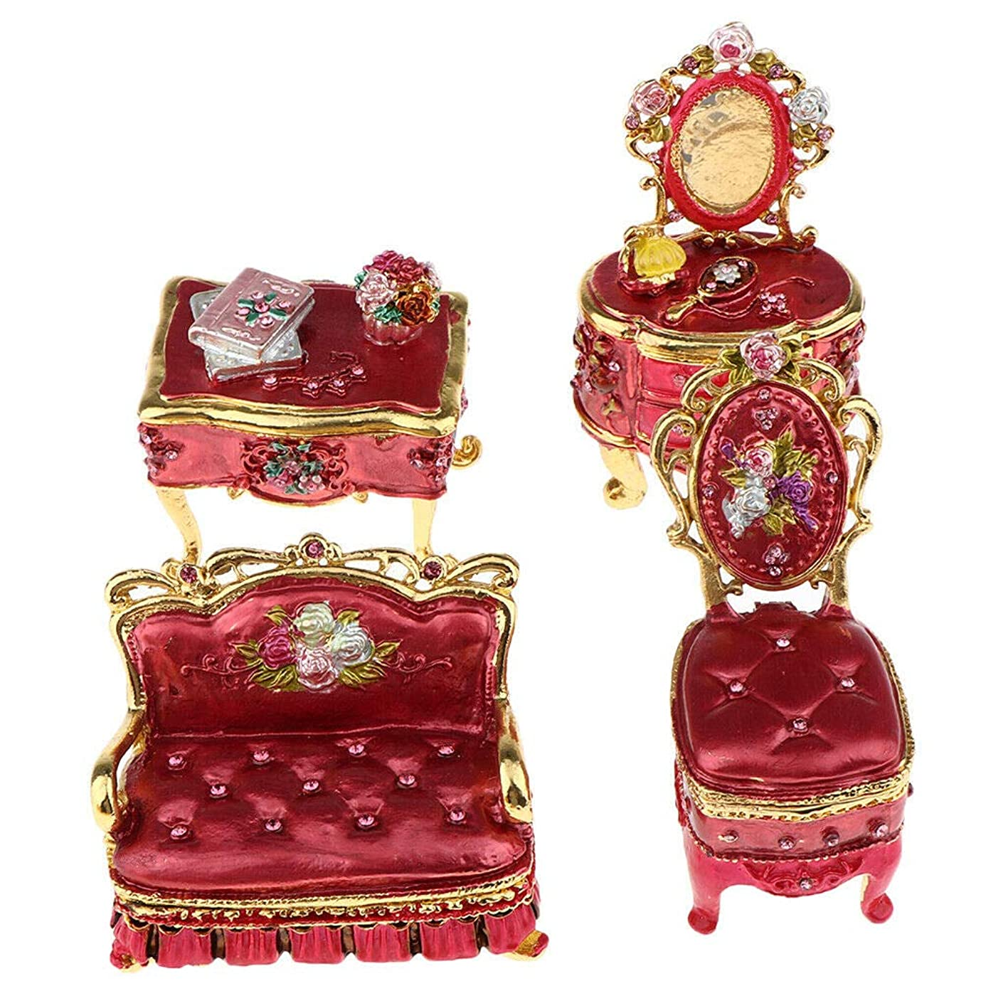 NATFUR 1:12 Dollhouse Mini Vintage Living Room Furniture Jewelry Box Model DIY Red qmdscfgyqul750