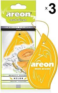 AREON Mon Auto Lufterfrischer Melone Duft Anhänger Hängend Aufhängen Spiegel Gelb Autoduft Pappe 2D Wohnung (Melon Set Pack x 3)