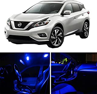 SCITOO 8Pcs Blue Package Kit Accessories Replacement Fits for Nissan Murano 2015-2017 LED Bulb LED Interior Lights