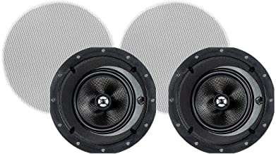 Monoprice 2-Way Carbon Fiber in-Ceiling Speakers - 6.5 Inch with 15 Degree Angled Drivers (Pair) - Alpha Series