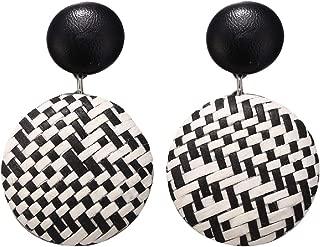 FAPIZI Rattan Earrings for Women Handmade Geometric Round Earrings Drop Dangle Earrings Bohemian Earrings Set