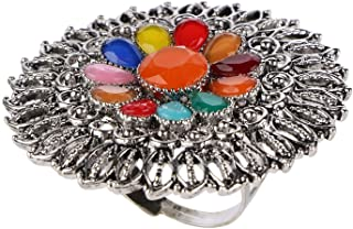Efulgenz Boho Vintage Gypsy Indian Oxidized Silver Statement Big Size Adjustable Cocktail Ring Jewelry