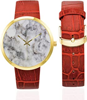Butterflies Fashion Women's Golden Leather Strap Watch,Daisies with Butterflies on Light Scenic Sky Chamomiles Animal Nature Happiness Art Decorative for Womans,Case Diameter: 40mm