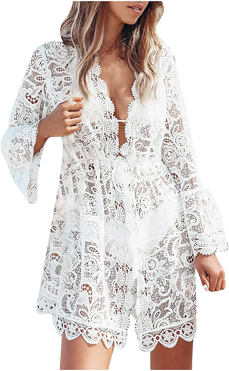 Summer Dresses, Women's Sexy Solid Color Lace Crochet Long Sleeve V-Neck Beach Dress in Summer