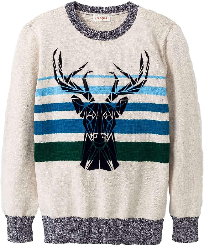 Boys Striped Blue & Green Cotton Buck Deer Sweater Ugly Christmas Reindeer