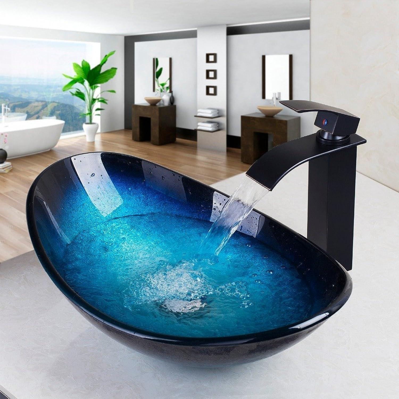 Wasserfall Auswurfkrümmer Becken Schwarz Tippen + Waschbecken Waschbecken aus gehrtetem Glas Messing Set Hand-Painted Badewanne Armatur, Armaturen