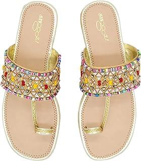 Fashionable Girl's Slip on Embroidered Ethnic Flat Sandals (Golden, numeric_4) UK Size 4