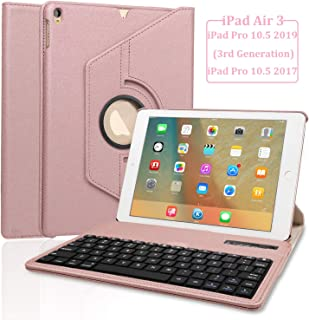 Keyboard Case for iPad Air 3rd Generation - 360 Rotating Case - Detachable Keyboard - PU Leather Stand - iPad Pro 10.5 Keyboard Case, (Rose gold, 10.5 2017/2019)
