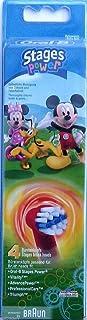 Braun, Oral-B Stages Power Kids EB10-2K, 4 testine di ricambio per spazzolino per bambini con motivo di topolino Mickey Mouse