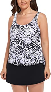 GSOU SNOW Women's Plus Size Tankini Swimsuits Two Piece Bathing Suits Printed Tummy Control Swimwear with Skirts