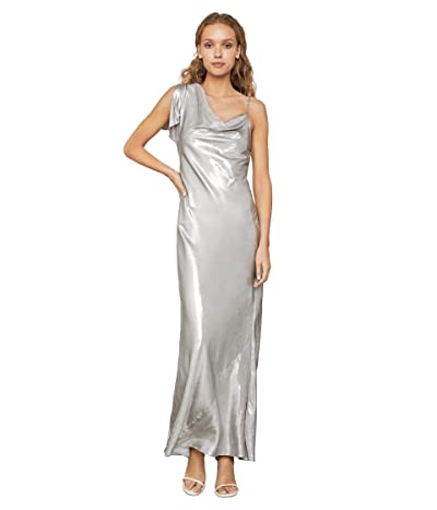 BCBGMAXAZRIA Lame One Shoulder Gown (Silver) Women