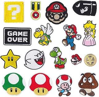 Mingjun Lot de 17patchs thermocollants avec motifs de Mario pour jeans, vêtements, sacs à main, chaussures ou casquettes ...