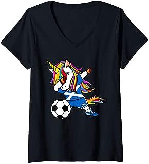 Womens Dabbing Unicorn Scotland Soccer Jersey Scottish Football V-Neck T-Shirt