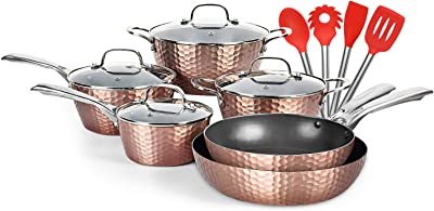 """Gotham Steel Pots and Pans Set Premium Aluminum Cookware Hammered Copper Collection Premium Ceramic Cookware with Triple Coated Ultra Nonstick Surface /& 12/"""" Nonstick Fry Pan with Lid"""