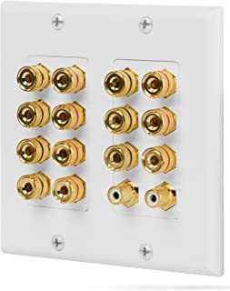 Fosmon [2-Gang 7.1 Surround Distribution] Home Theater Wall Plate - Premium Quality Gold Plated Copper Banana Binding Post...