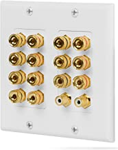 Fosmon [2-Gang 7.1 Surround Distribution] Home Theater Wall Plate - Premium Quality Gold Plated Copper Banana Binding Post Coupler Type Wall Plate for 7 Speakers and 2 RCA Jacks for Subwoofer(s) (White)