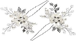 Barogirl Wedding Hair Pins Silver Floral Hair Pin Clip Leaf Wedding Hair Accessories for Brides and Bridesmaids (Set of 2)