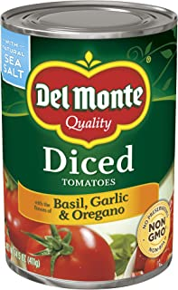 Del Monte Canned Diced Tomatoes with Basil, Garlic & Oregano, 14.5-Ounce (Pack of 12)
