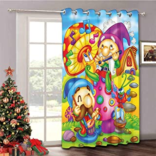 Kids - Insulated Blackout Sliding Door Cartoon Style Singing Elves with Mushroom Playing Flute Musical Cheerful Illustration - Room Divider Drape W52 x L84 Inch Multicolor
