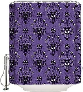CyCoShower Halloween Design Waterproof Shower Curtain,Halloween Grimace Haunted Mansion Pattern Durable Bathroom Bathtub Curtains Set with Hooks 72 X 72 Inch