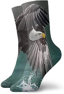 Kevin-Shop, Eagle Fly Over River Ferozmente Suave y Transpirable Calcetines Altos y Casuales Medias más Gruesas Debajo de la Rodilla Calcetines cómodos